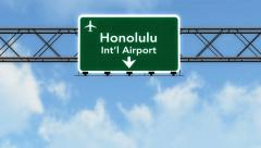 4K Passing Honolulu Airport Sign with Matte 2 stylized Stock Footage