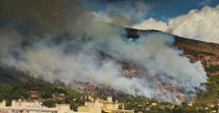 France, Menton, The fire on the slopes of the mountains Stock Footage