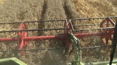View of the combine header working - stock footage