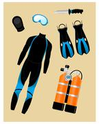 Diving Equipment Set Stock Illustration