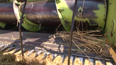 Closer view on the combine header platform - stock footage
