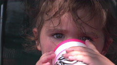 Cute young baby girl sitting in shade of buggy 4k - stock footage