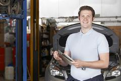 Portrait Of Mechanic In Auto Repair Shop Stock Photos