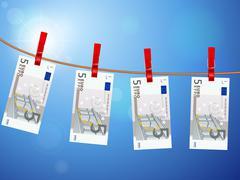 Five euro banknotes on clothesline Stock Illustration
