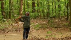 Crazy axe woman brandishing an axe in the air 2 Stock Footage