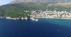 View of the small town Petrovac, Montenegro Stock Footage