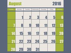 Blue green colored 2016 august calendar Stock Illustration
