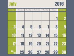 Blue green colored 2016 january calendar - stock illustration
