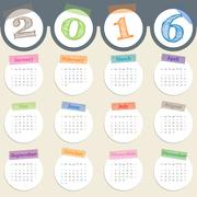 Fancy calendar with color tapes for 2016 Stock Illustration