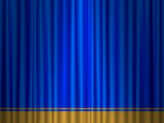 Theatre blue gold curtain Stock Illustration