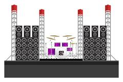 Festival Stage with Speakers and Drums - stock illustration