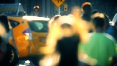 Slow motion defocused pedestrians anonymous people walking New York City NYC - stock footage