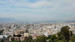 Panoramic of Malaga City from Gibralfaro castle Stock Footage