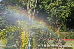 sprinkler of automatic watering with colorful rainbow - stock photo