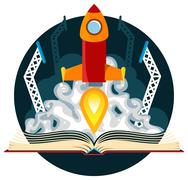 Sci-Fi Book with Rocket Launch - stock illustration