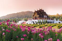 Stock Photo of Ho Kham Luang at Royal Flora Expo, traditional thai architecture in the Lanna