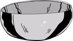 Stainless Steel Bowl Illustration Stock Illustration