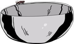 Roach on Stainless Steel Bowl - stock illustration