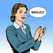 Stock Illustration of woman applause bravo concept of success
