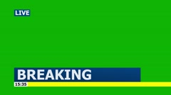 "LIVE ""Breaking News"" Lower Third Graphic for Titles - Green Screen HD Blue 2 Stock Footage"