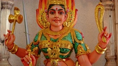 Colorfully Painted Statue of a Hindu Goddess inside a Temple Stock Footage