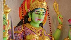 Stock Video Footage of Statue of a Hindu Goddess with Green Skin inside a Temple