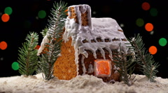 Gingerbread House with Christmas Lights - stock footage