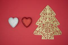 Love Christmas tree red heart shape decorate winter - stock photo