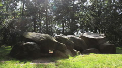 Megalithic tomb (HUNEBED) stone grave in the province Drenthe in the Netherlands - stock footage