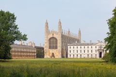University of Cambridge buildings viewed from the back of the River Cam - stock photo