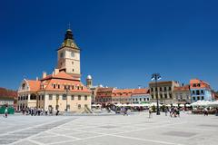 The old town hall and the council square, Brasov - stock photo