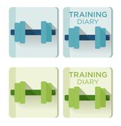Vector dumbbells and Training diary text - stock illustration