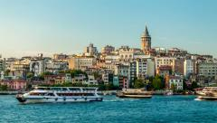 Istanbul. Beyoglu district with Galata tower. - stock footage