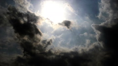 Clouds with sun, time lapse background Stock Footage