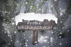 Sign Snowflakes Fir Tree Frohe Weihnachten Mean Merry Christmas Kuvituskuvat