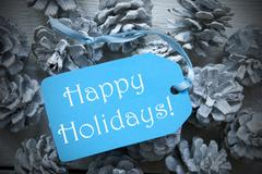 Light Blue Label On Fir Cones With Happy Holidays - stock photo