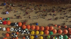 Aerial View of Crowd Brazilian Beach Stock Footage