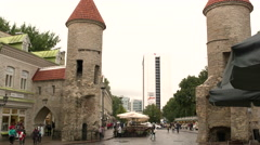 Old Town Tallinn looking into modern Tallinn Stock Footage
