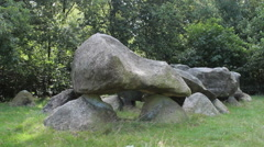 Megalithic tomb stone grave in the province Drenthe in the Netherlands - stock footage