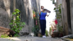 Female Tourist Travelling with Map in the City Stock Footage