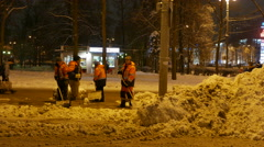 Urban services in Moscow conducted cleaning the streets from snow. Stock Footage