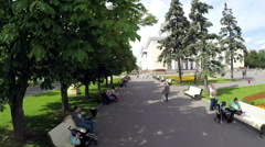 Central Pavilion and Central Avenue at VDNKh Stock Footage