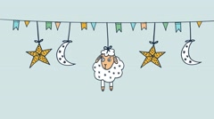 Eid-ul-adha background, swinging sheep, moon, stars, flags, seamless loop Stock Footage