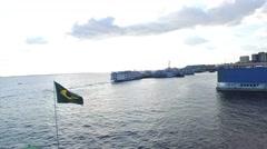 Brazil flag waving in Amazon Port, Manaus, Brazil Stock Footage