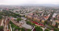 Aerial birdview over the town 4K Stock Footage