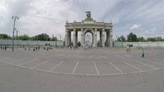 The main entrance to the Exhibition Centre VDNKh. - stock footage
