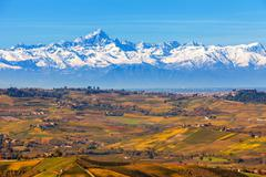 Autumnal hills and mountains in Italy. Stock Photos