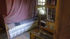 Bedrom in the house of a poor peasant in the old Russian style Stock Footage