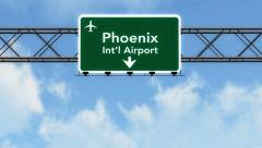 4K Passing Phoenix Airport Sign with Matte 2 stylized Stock Footage
