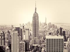 New York City with the Empire State Building on the foreground Stock Photos